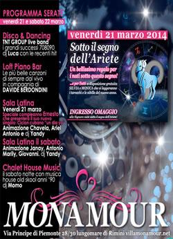 Monamour Rimini weekend 22 Marzo 2014