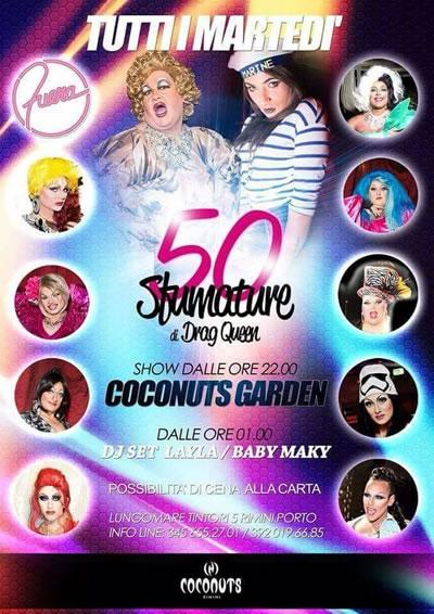 Coconuts Rimini ogni martedì presenta: Le 50 Sfumature di Drag Queen
