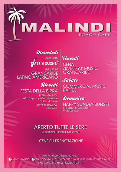 Happy Sunday Set tutte le domeniche al Malindi Cattolica