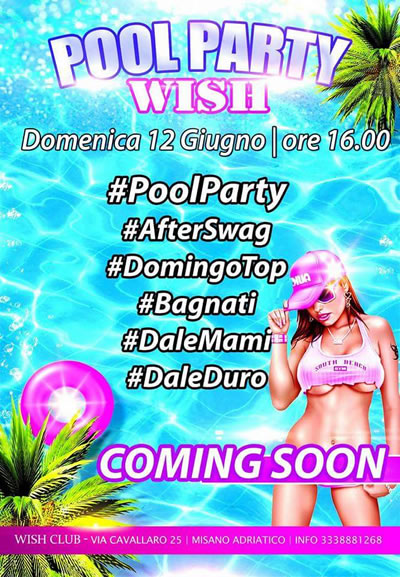Pool Party tutte le domenica al Wish Club di Misano