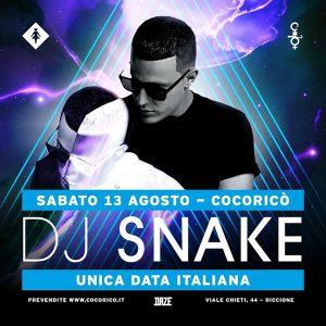 DJ SNAKE in Italia solo x il Cocorico!