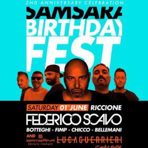 Buon compleanno Samsara Riccione. Beach Party con Federico Scavo