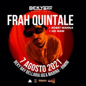 Frah Quintale in concerto live sulla spiaggia del Beky Bay Bellaria.